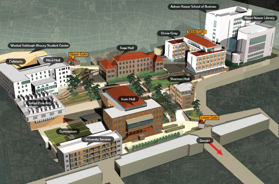3D rendering of Beirut campus map