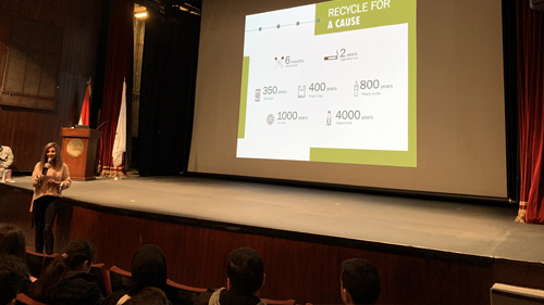 Facilities Management raised awareness about LAU's recycling initiative on Friday January 11, during the Dean of students' new students Spring 2019 orientation at Byblos Campus.