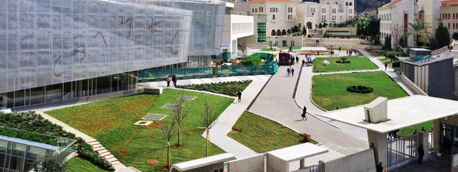 Byblos Campus view, with the new Library, the Central Administration building (in progress), Gilbert and Rose-Marie Chagoury Health Sciences Center, and Frem Civic Center.