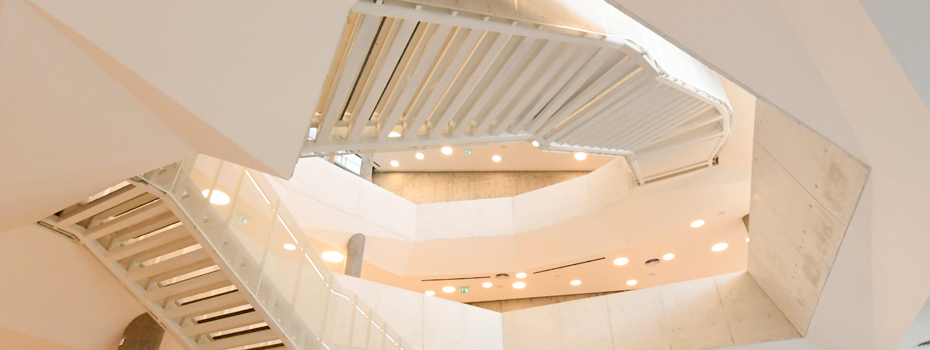The new Library's internal multi-layered and open stair-circulation, Byblos Campus