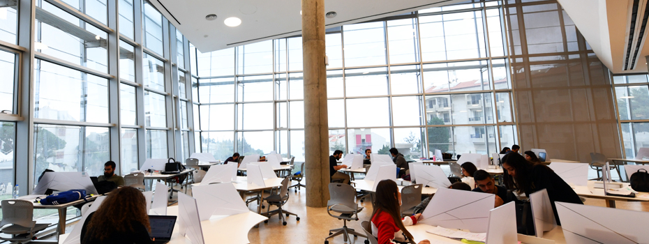 Byblos' Library's study area in a super lit environment overlooking the campus